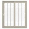 JELD-WEN V-4500 71.5-in 15-Lite Glass Desert Sand Vinyl Sliding Patio Door with Screen