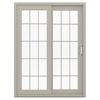 JELD-WEN V-4500 59.5-in 15-Lite Glass Desert Sand Vinyl Sliding Patio Door with Screen