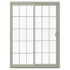 JELD-WEN V-2500 59.5-in 15-Lite Glass  Vinyl Sliding Patio Door with Screen