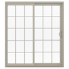 JELD-WEN V-2500 71.5-in 15-Lite Glass  Vinyl Sliding Patio Door with Screen