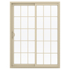 JELD-WEN V-2500 59.5-in 15-Lite Glass  Vinyl Sliding Patio Door with Screen