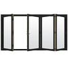 JELD-WEN W4500 124.1875-in Clear Glass Chestnut Bronze Wood Sliding Outswing Patio Door