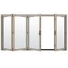 JELD-WEN W4500 124.1875-in Clear Glass Desert Sand Wood Sliding Outswing Patio Door