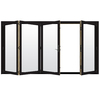 JELD-WEN W-4500 124.1875-in Clear Glass Black Wood Folding Outswing Patio Door