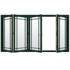 JELD-WEN W4500 124.1875-in Grid Glass Hartford Green Wood Sliding Outswing Patio Door