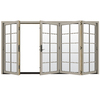 JELD-WEN W4500 124.1875-in 10-Lite Glass Desert Sand Wood Sliding Outswing Patio Door