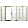 JELD-WEN W4500 124.1875-in 10-Lite Glass French Vanilla Wood Sliding Outswing Patio Door