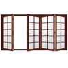JELD-WEN W4500 124.1875-in 10-Lite Glass Mesa Red Wood Sliding Outswing Patio Door
