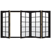 JELD-WEN W4500 124.1875-in 10-Lite Glass Black Wood Sliding Outswing Patio Door