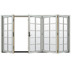 JELD-WEN W4500 124.1875-in 10-Lite Glass Arctic Silver Wood Sliding Outswing Patio Door