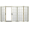 JELD-WEN W4500 124.1875-in 15-Lite Glass French Vanilla Wood Sliding Outswing Patio Door