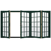 JELD-WEN W4500 124.1875-in 15-Lite Glass Hartford Green Wood Sliding Outswing Patio Door