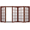 JELD-WEN W4500 124.1875-in 15-Lite Glass Mesa Red Wood Sliding Outswing Patio Door