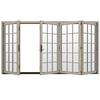 JELD-WEN W-4500 124.1875-in 15-Lite Glass Desert Sand Wood Folding Outswing Patio Door