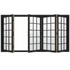 JELD-WEN W4500 124.1875-in 15-Lite Glass Chestnut Bronze Wood Sliding Outswing Patio Door