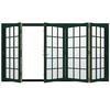 JELD-WEN W-4500 124.1875-in 15-Lite Glass Hartford Green Wood Folding Outswing Patio Door