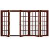 JELD-WEN W4500 124.1875-in 15-Lite Glass Mesa Red Wood Sliding Outswing Patio Door