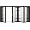 JELD-WEN W-4500 124.1875-in 15-Lite Glass Black Wood Folding Outswing Patio Door