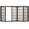 JELD-WEN W4500 124.1875-in 15-Lite Glass Dark Chocolate Wood Sliding Outswing Patio Door