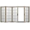 JELD-WEN W4500 124.1875-in 15-Lite Glass Desert Sand Wood Sliding Outswing Patio Door