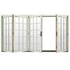 JELD-WEN W4500 124.1875-in 15-Lite Glass French Vanilla Wood Sliding Outswing Patio Door