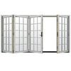 JELD-WEN W4500 124.1875-in 15-Lite Glass Arctic Silver Wood Sliding Outswing Patio Door
