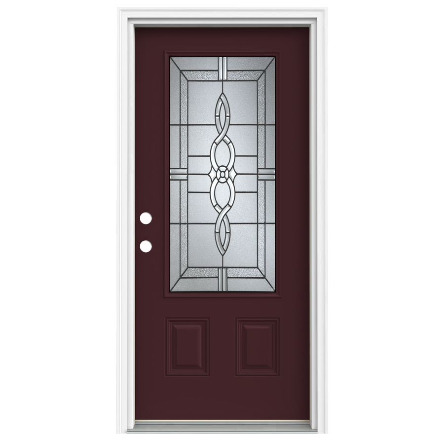 Shop reliabilt 3 4 lite decorative currant prehung inswing for Fiberglass entry doors