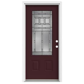 ReliaBilt Craftsman Glass 1-Panel Insulating Core 3/4 Lite Left-Hand Inswing Currant Fiberglass Painted Prehung Entry Door (Common: 36-in x 80-in; Actual: 37.5-in x 81.75-in)