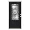 ReliaBilt Wyngate 1-Panel Insulating Core 3/4 Lite Left-Hand Inswing Peppercorn Fiberglass Painted Prehung Entry Door (Common: 36-in x 80-in; Actual: 37.5-in x 81.75-in)