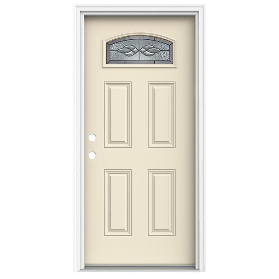 Shop Reliabilt Morelight Decorative Bisque Prehung Inswing Fiberglass Entry Door Common 36 In
