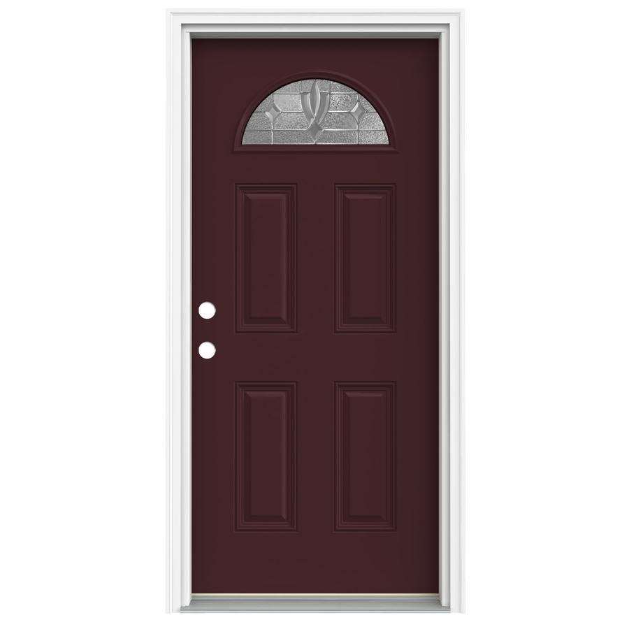 Shop reliabilt full lite clear outswing fiberglass entry for Exterior double doors lowes