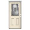 ReliaBilt Hampton 2-Panel Insulating Core Half Lite Left-Hand Inswing Bisque Fiberglass Painted Prehung Entry Door (Common: 32-in x 80-in; Actual: 33.5-in x 81.75-in)