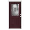 ReliaBilt Hampton 2-Panel Insulating Core Half Lite Left-Hand Inswing Currant Fiberglass Painted Prehung Entry Door (Common: 32-in x 80-in; Actual: 33.5-in x 81.75-in)