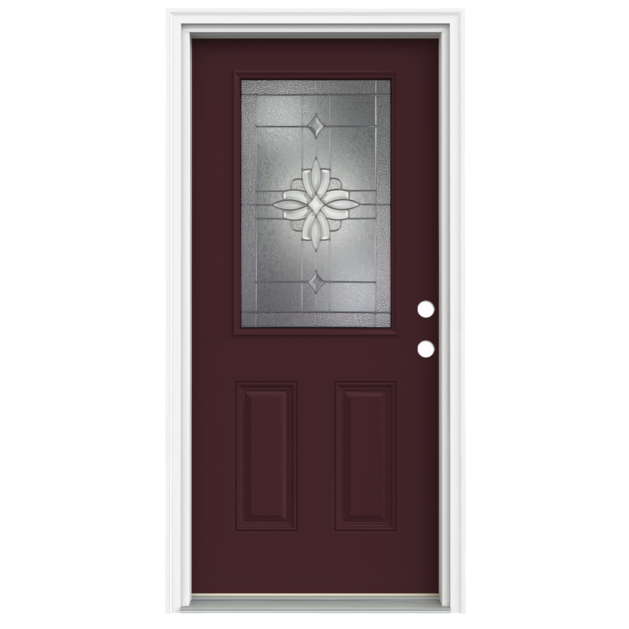 Shop reliabilt half lite decorative currant inswing fiberglass entry door common 80 in x 32 in for Lowes fiberglass exterior doors