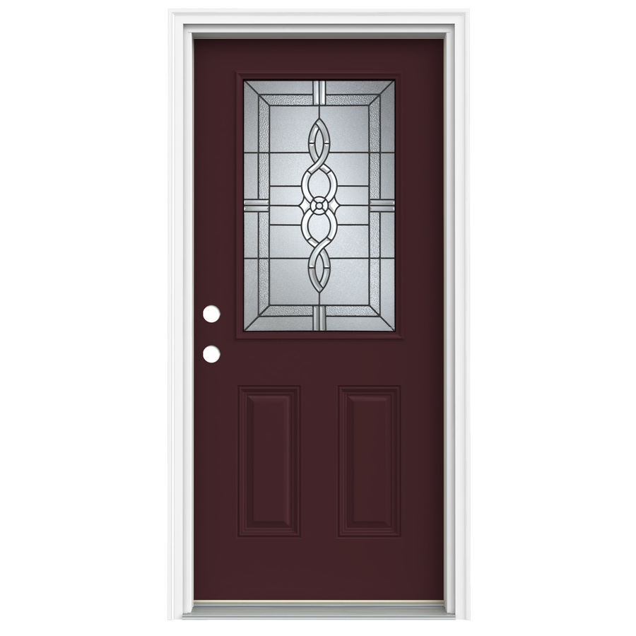 Shop reliabilt half lite decorative currant prehung for Exterior fiberglass doors
