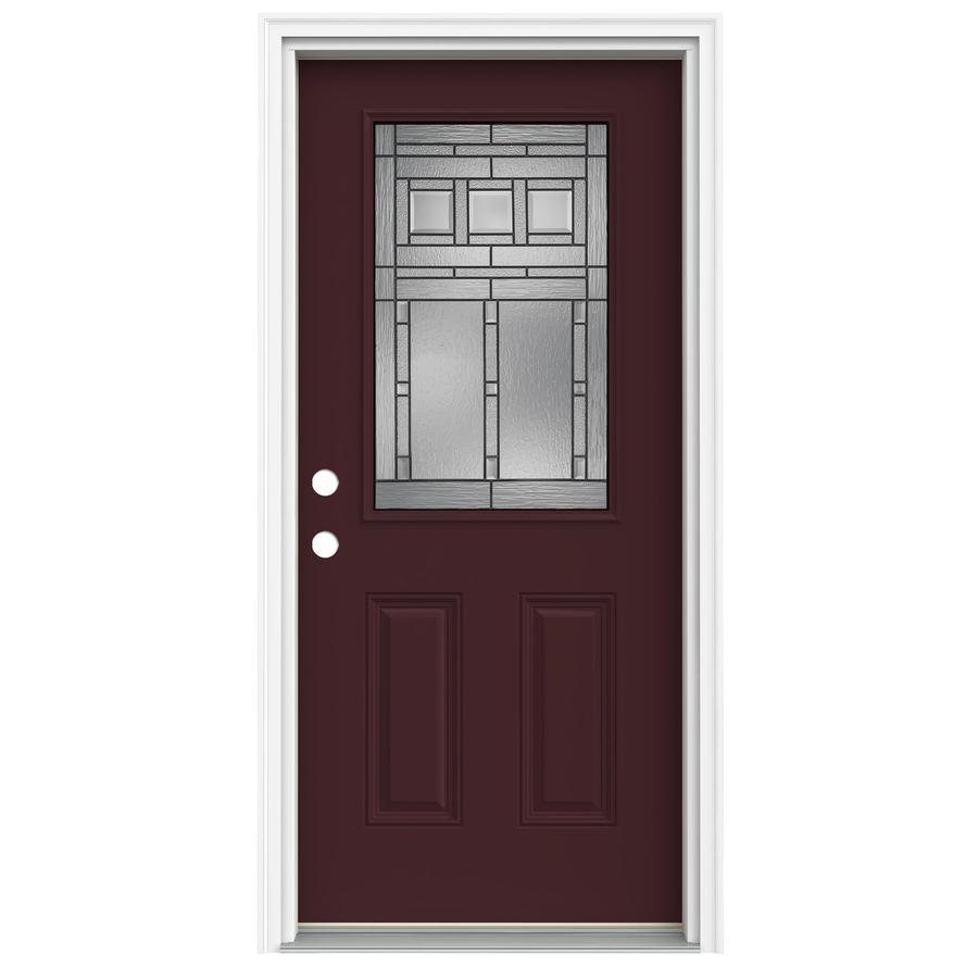 Shop reliabilt half lite decorative currant prehung for Lowes front doors