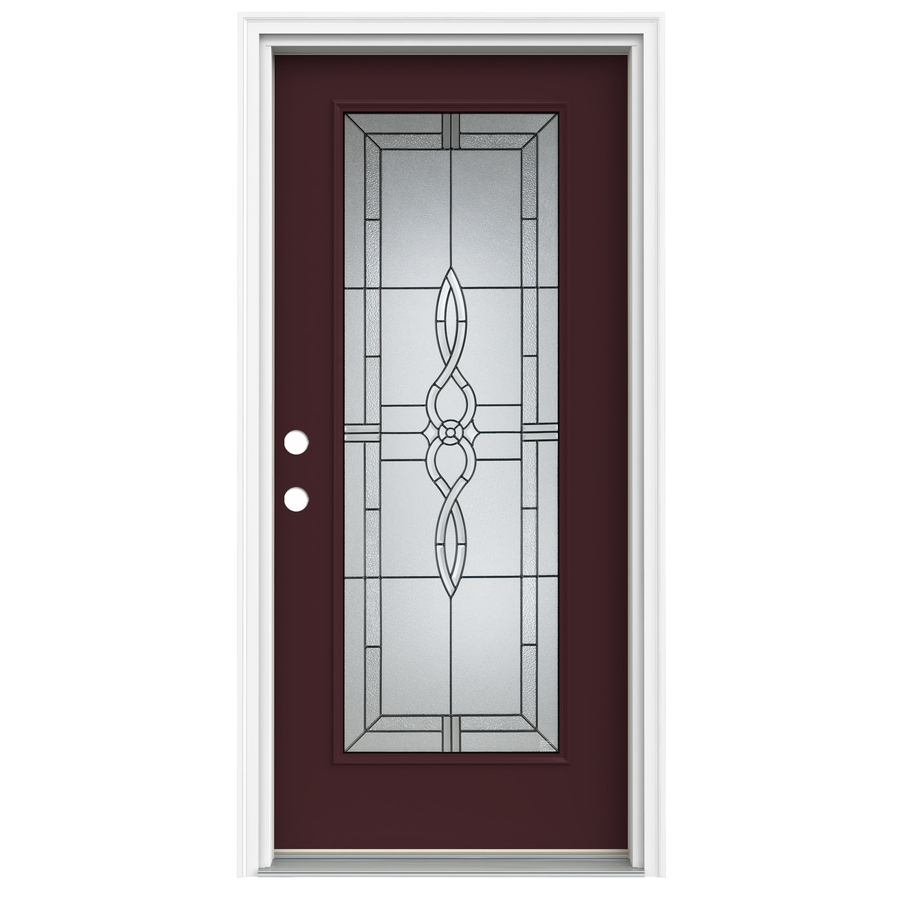 Shop reliabilt full lite decorative currant prehung for Lowes exterior doors