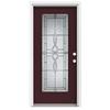 ReliaBilt Calista 1-Panel Insulating Core Full Lite Left-Hand Inswing Currant Fiberglass Painted Prehung Entry Door (Common: 36-in x 80-in; Actual: 37.5-in x 81.75-in)