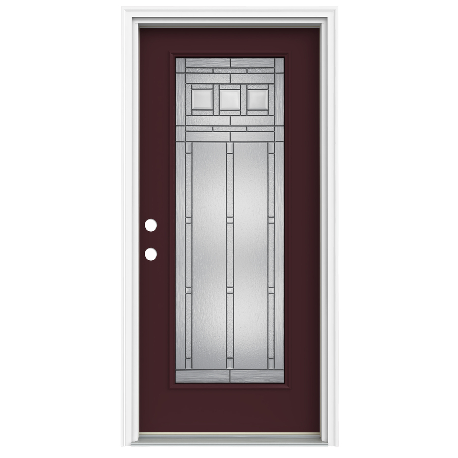 Shop reliabilt full lite decorative currant prehung inswing fiberglass entry door common 36 in for Lowes fiberglass exterior doors