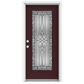 ReliaBilt Wyngate 1-Panel Insulating Core Full Lite Right-Hand Inswing Currant Fiberglass Painted Prehung Entry Door (Common: 36-in x 80-in; Actual: 37.5-in x 81.75-in)