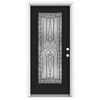ReliaBilt Wyngate 1-Panel Insulating Core Full Lite Left-Hand Inswing Peppercorn Fiberglass Painted Prehung Entry Door (Common: 36-in x 80-in; Actual: 37.5-in x 81.75-in)