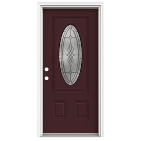 ReliaBilt Hampton 2-Panel Insulating Core Oval Lite Right-Hand Inswing Currant Fiberglass Painted Prehung Entry Door (Common: 32-in x 80-in; Actual: 33.5-in x 81.75-in)