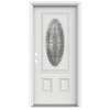 ReliaBilt Hampton 2-Panel Insulating Core Oval Lite Right-Hand Inswing Arctic White Fiberglass Painted Prehung Entry Door (Common: 36-in x 80-in; Actual: 37.5-in x 81.75-in)
