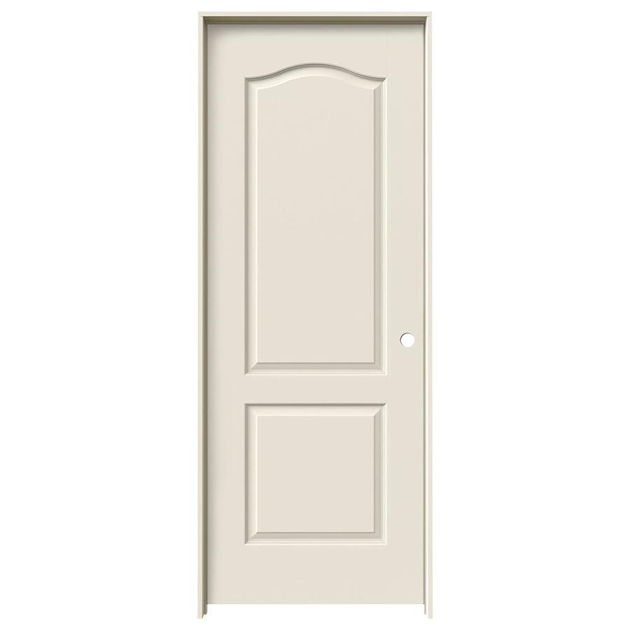 Shop reliabilt 2 panel arch top solid core smooth molded composite left hand interior single for 2 panel arch top interior doors