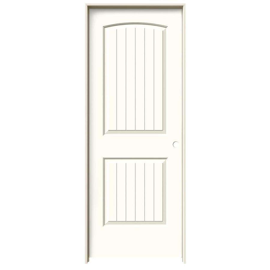 Shop reliabilt 2 panel round top plank solid core smooth for Prehung interior doors