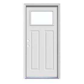 ReliaBilt Craftsman Insulating Core 1-Lite Right-Hand Inswing Primed Steel Prehung Entry Door (Common: 36-in x 80-in; Actual: 37.5-in x 81.75-in)