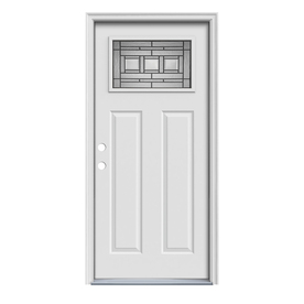ReliaBilt Craftsman Glass Insulating Core 1-Lite Right-Hand Inswing Primed Steel Prehung Entry Door (Common: 36-in x 80-in; Actual: 37.5-in x 81.75-in)
