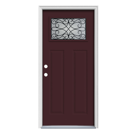 ReliaBilt Wyngate Craftsman Insulating Core 1-Lite Right-Hand Inswing Currant Steel Painted Prehung Entry Door (Common: 36-in x 80-in; Actual: 37.5-in x 81.75-in)