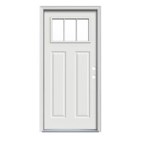 JELD-WEN Craftsman Insulating Core 3-Lite Left-Hand Inswing Arctic White Steel Painted Prehung Entry Door (Common: 36-in x 80-in; Actual: 37.5-in x 81.75-in)