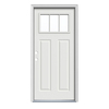 JELD-WEN Craftsman Insulating Core 3-Lite Right-Hand Inswing Arctic White Steel Painted Prehung Entry Door (Common: 36-in x 80-in; Actual: 37.5-in x 81.75-in)
